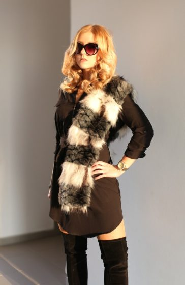 Black Dress, Fur Stole, Overknees