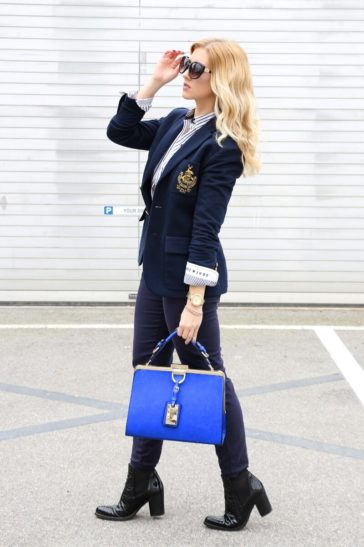 Ralph Lauren Blazer, Gaastra Blouse, Dune London Bag